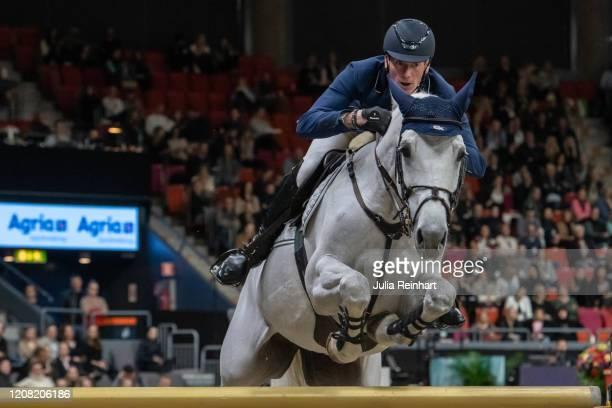 German rider Daniel Deusser on Jasmien v. Bisschop competes in the FEI World Cup Jumping event during the Gothenburg Horse Show at Scandinavium Arena...