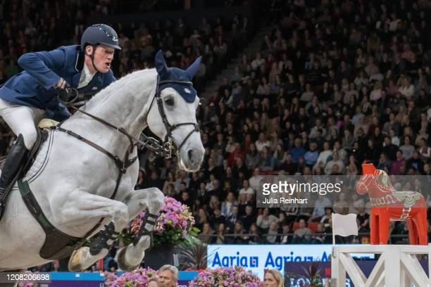 German rider Daniel Deusser on Jasmien v Bisschop competes in the FEI World Cup Jumping event during the Gothenburg Horse Show at Scandinavium Arena...