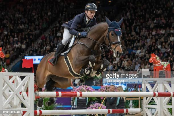 German rider Michael Jung on Fiescherchelsea competes in the FEI World Cup Jumping event during the Gothenburg Horse Show at Scandinavium Arena on...