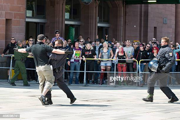 german riot police and protestors - nazism stock pictures, royalty-free photos & images
