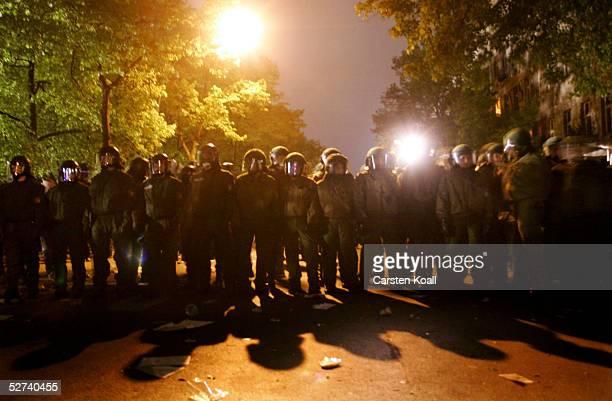 German riot police blockade the street against demonstrators in the district of Friedrichshain April 30 2005 in Berlin Germany Walpurgis Night or...