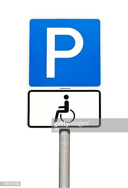 german road sign - parking for disabled people only - parking sign stock photos and pictures