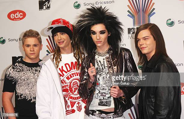 German rock band Tokio Hotel arrives at the MTV Europe Music Awards 2007 at the Olympiahalle on November 1 2007 in Munich Germany