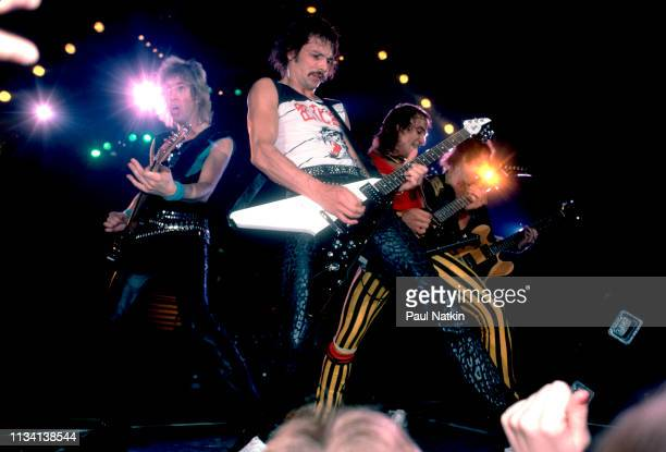 German Rock group Scorpions perform onstage at the Rosemont Horizon Rosemont Illinois May 20 1984 Pictured are from left Francis Buchholz on bass...