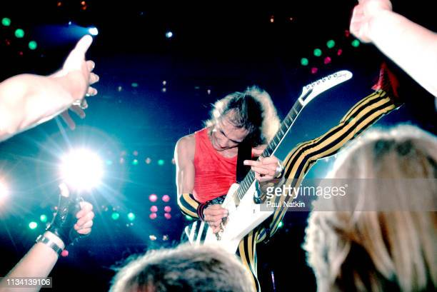 German Rock musician Matthias Jabs of the group Scorpions plays guitar as he performs onstage at the Rosemont Horizon Rosemont Illinois May 20 1984