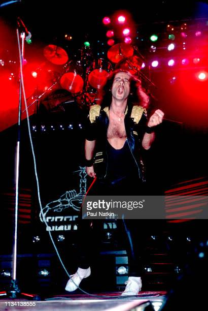 German Rock vocalist Klaus Meine of the group Scorpions performs onstage at the Rosemont Horizon Rosemont Illinois May 20 1984