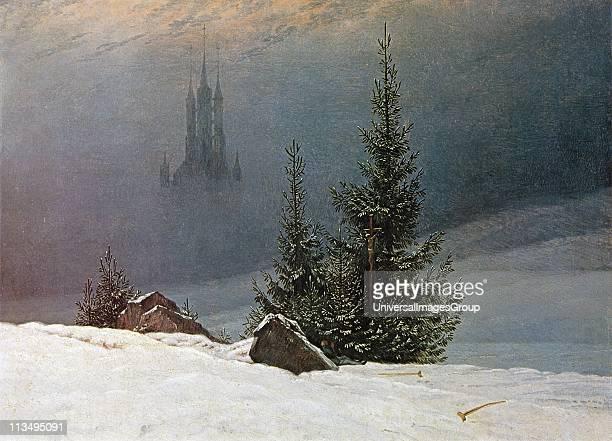 German Romantic artist Caspar David Friedrich . Winter Landscape with Church 'Winterlandschaft mit Kirche' 1811 Oil on canvas.'Dortmund Museum fur...