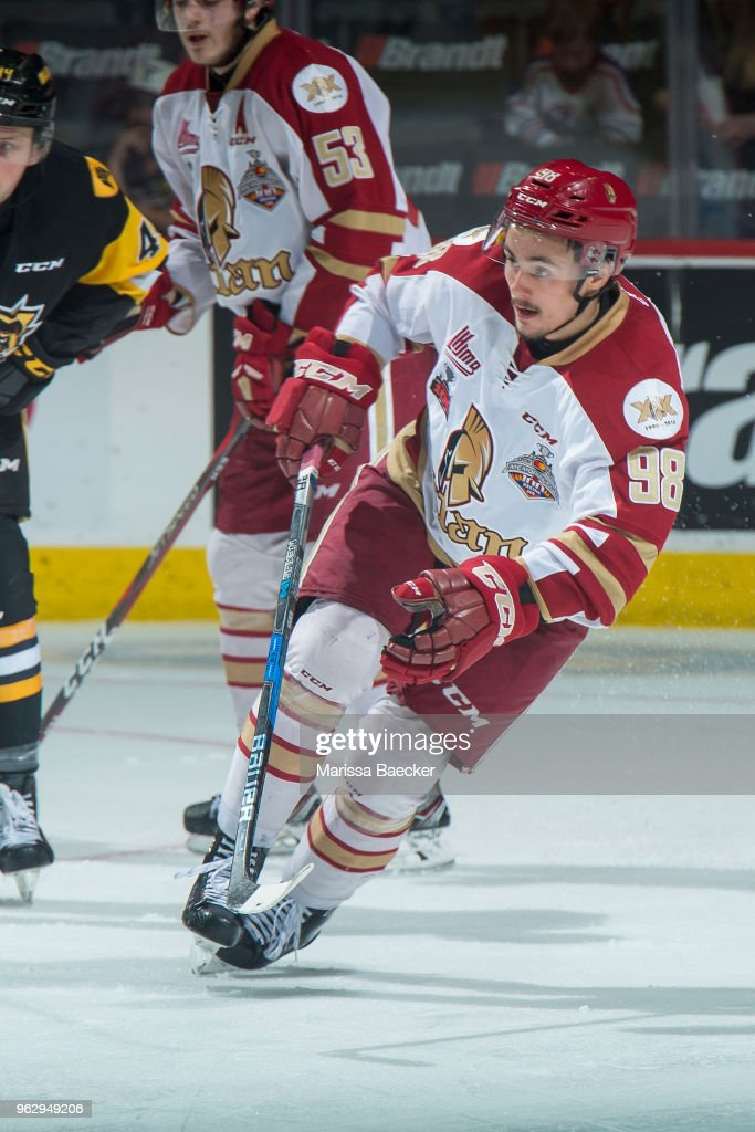 German Rubtsov #98 of Acadie-Bathurst Titan skates against the Hamilton Bulldogs at Brandt Centre - Evraz Place on May 22, 2018 in Regina, Canada.