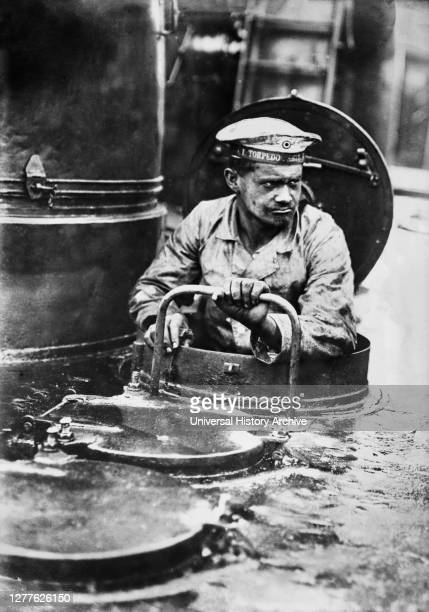German Sailor coming out of Turret on Torpedo Boat, Bain News Service, August 1915.