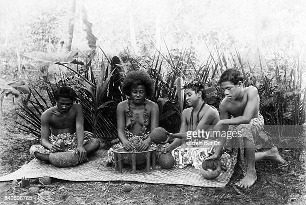 German Samoa German protectorate from 1900 to 1914 local people preparing Kava drinkphoto by Fr Kloppmann