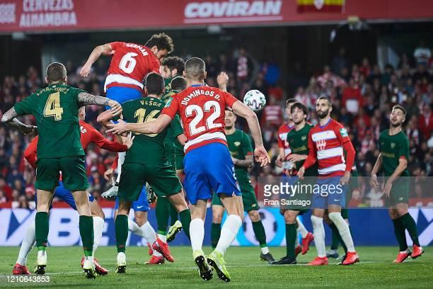 German Sanchez of Granada CF scores his teams second goal during the Copa del Rey semifinal 2nd leg match between Granada CF and Athletic Club at...