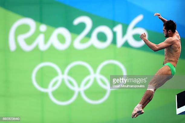 German Sanchez of Mexico competes during the Men's Diving 10m Platform semifinal on Day 15 of the Rio 2016 Olympic Games at the Maria Lenk Aquatics...