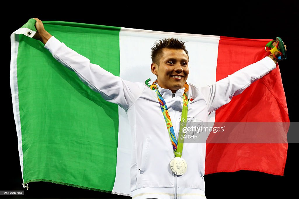German Sanchez of Mexico poses with the silver medal for the Men's Diving 10m Platform on Day 15 of the Rio 2016 Olympic Games at the Maria Lenk Aquatics Centre on August 20, 2016 in Rio de Janeiro, Brazil.