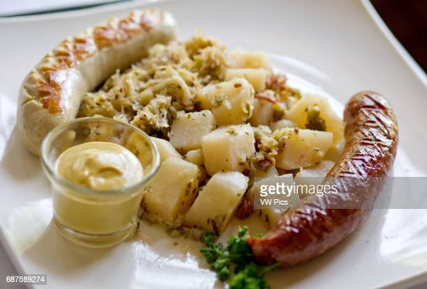 German sauerkraut with seasoned potatoes specialty mustard
