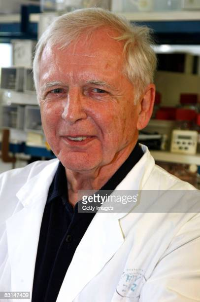 German scientist Harald zur Hausen poses for the press in the labor at the German Cancer Research Center on October 6 2008 in Heidelberg Germany Zur...