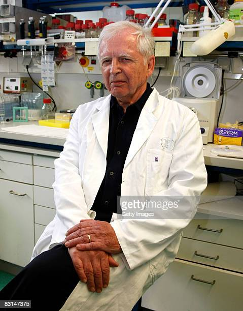 German scientist Harald zur Hausen poses in the labor at the German Cancer Research Center on October 6 2008 in Heidelberg Germany Zur Hausen who...