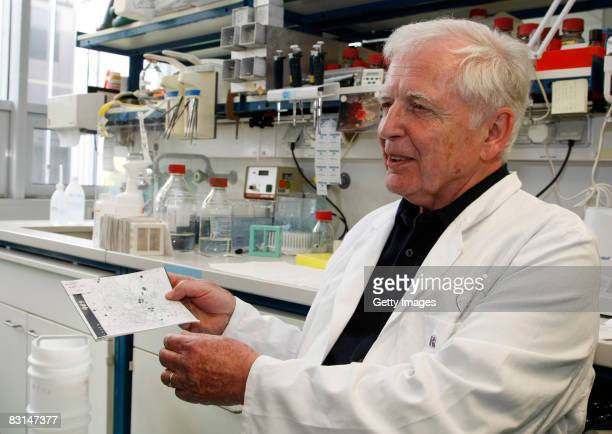 German scientist Harald zur Hausen shows a photo of human papilloma virus in the labor at the German Cancer Research Center on October 6 2008 in...