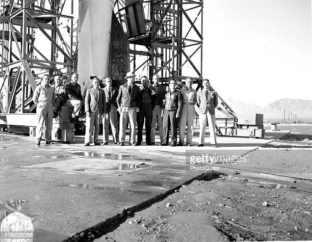 German scientists work on rocket propulsion equipment at White Sands Proving Ground New Mexico November 1946 Left to right are Werner Rosinski Theo...