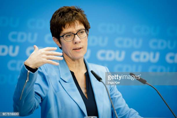 German secretary general of the Christian Democratic Union Annegret KrampKarrenbauer speaks during a press conference at the party's headquarters on...