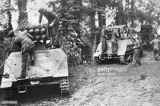 German selfpropelled guns are made ready for combat in the the area of Caen after the landing of Allied forces in Normandy