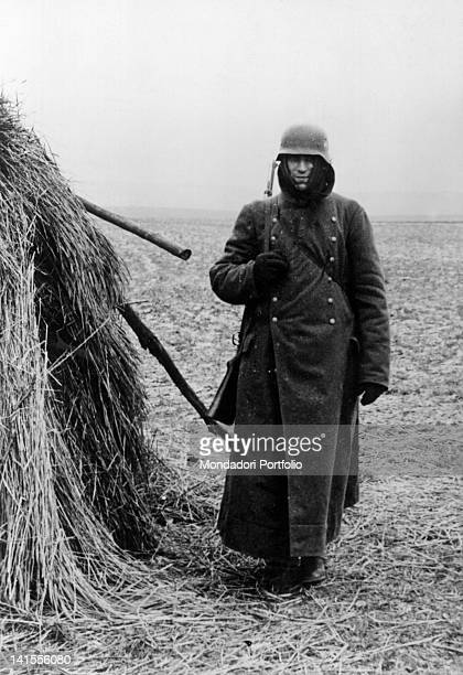 German sentry garrisoning an outpost of the Siegfried Line. Germany, November 1939