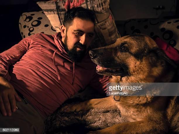 German Shepherd dog with his landlord