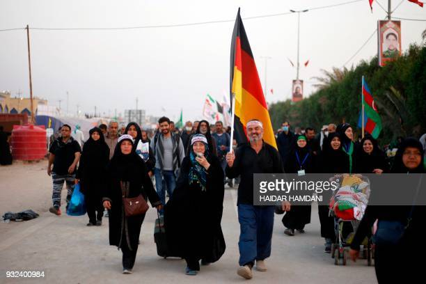 German Shiite pilgrims gather in the southern Iraqi city of Najaf on November 7 2017 ahead of the Arbaeen religious festival which marks the 40th day...