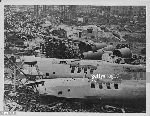 German ship building yard of Blohm and Voss with many Uboats partially built due to constant bombardment from allied attack during World War Two...