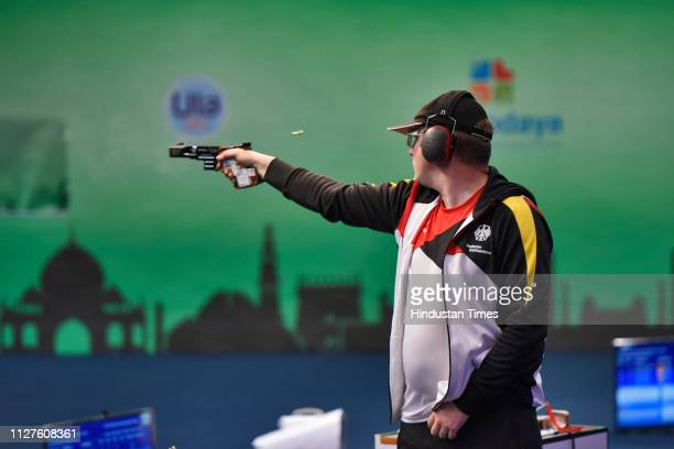 German Shooter Christian Reitz won the Gold in the final of men's 25 meter Rapid Fire Pistol, at ISSF World Cup, at Karni Singh Shooting Ranges on...