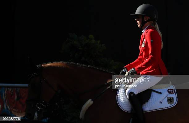 German show jumper Laura Klaphake on her horse Catch Me If You Can pictured riding during the show jumping contest of the FEI European Championships...
