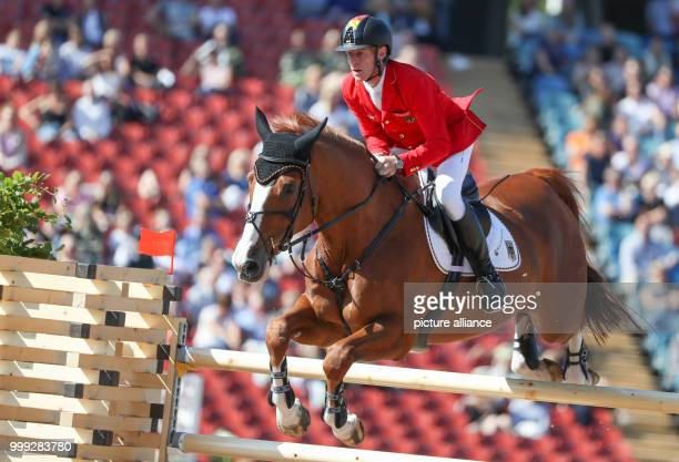German show jumper Marcus Ehning on his horse Pret A Tout pictured riding during the show jumping contest of the FEI European Championships 2017 in...