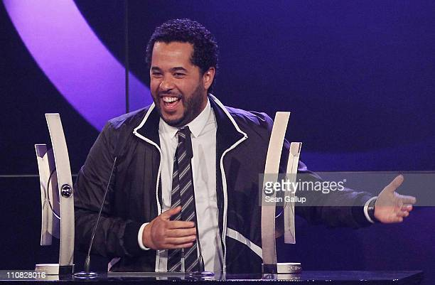 German singer Adel Tawil of the band 'Ich Ich' speaks after receiving the Most Successful Live Act National Award at the Echo Awards 2011 at Palais...
