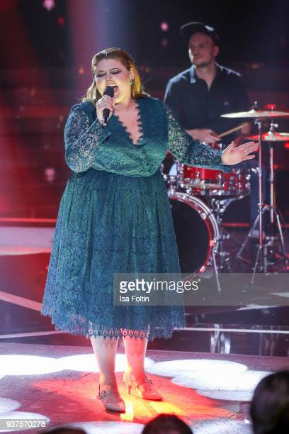 German singer Alina Wichmann alias Alina performs during the tv show 'Willkommen bei Carmen Nebel' on March 24 2018 in Hof Germany The show will be...
