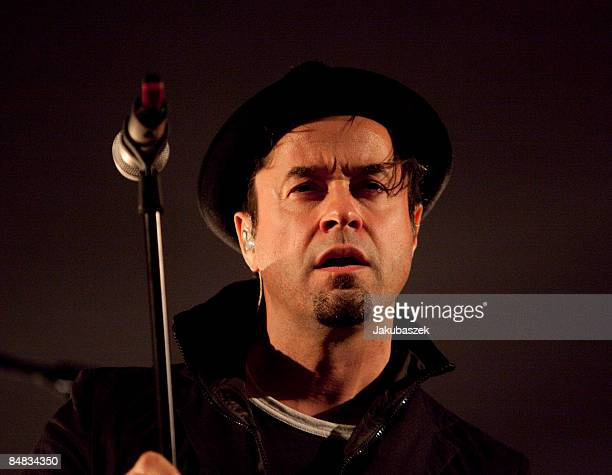 German singer and actor Jan Josef Liefers performs with his band Oblivion live during a concert at the Passionkirche on February 17 2009 in Berlin...