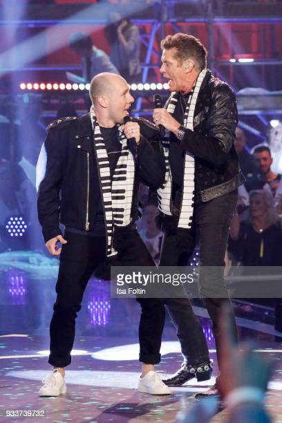 German singer and actor Oli P and US singer and actor David Hasselhoff during the tv show 'Heimlich Die grosse SchlagerUeberraschung' on March 17...