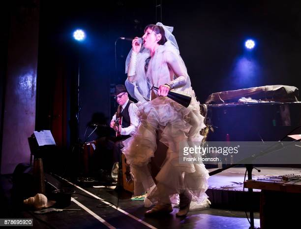 German singer and actress Meret Becker performs live on stage during a concert at the Heimathafen Neukoelln on November 24 2017 in Berlin Germany