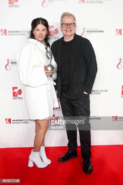 German singer and award winner Balbina Jagielska alias Balbina and German singer Herbert Groenemeyer during the German musical authors award on March...
