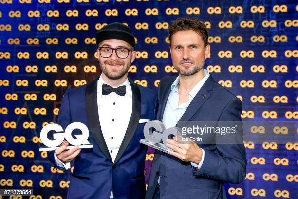 German singer and award winnerMark Forster and German actor and award winner Simon Verhoeven during the GQ Men of the year Award 2017 show at...