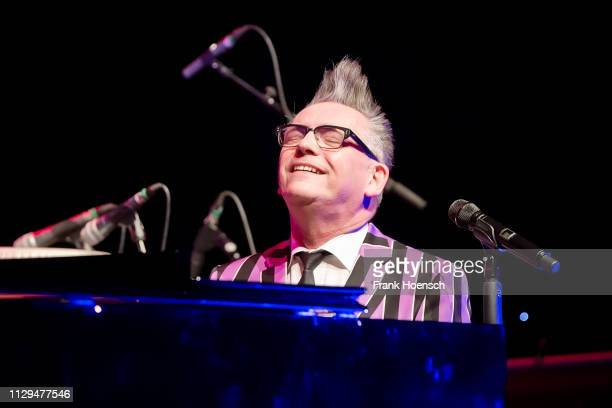 German singer and musician Goetz Alsmann performs live on stage during a concert at the Admiralspalast on March 9 2019 in Berlin Germany