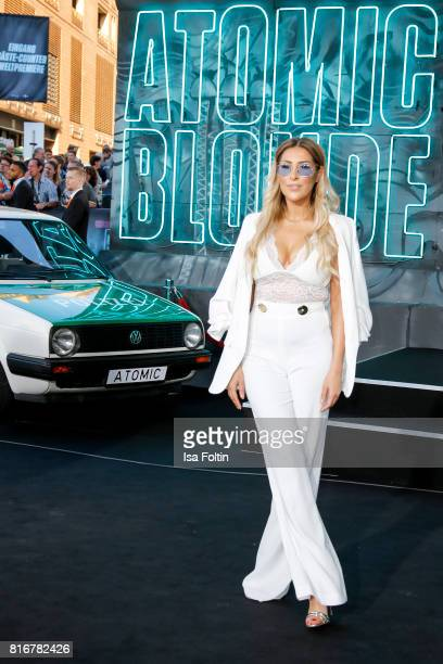 German singer and presenter Senna Gammour attends the 'Atomic Blonde' World Premiere at Stage Theater on July 17 2017 in Berlin Germany