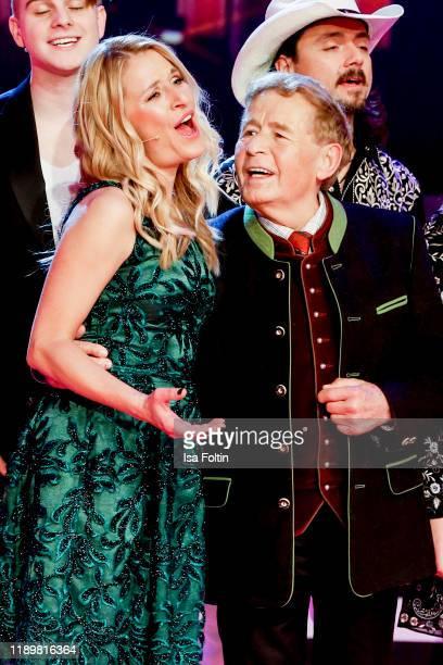 German singer and presenter Stefanie Hertel with her father Eberhard Hertel at Die groe Show der Weihnachtslieder at on November 22 2019 in Suhl...
