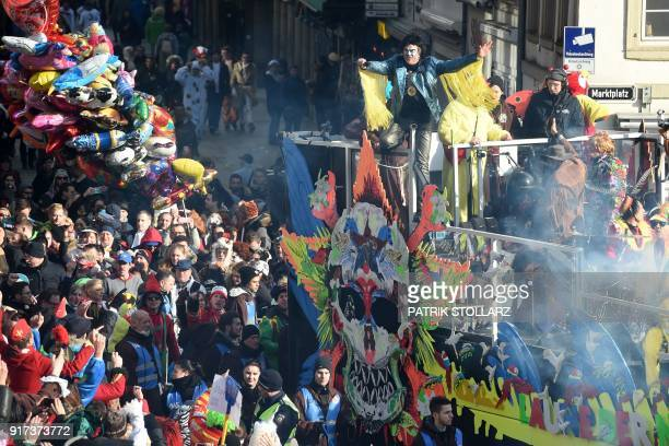 German singer and the lead vocalist of Die Toten Hosen German punk rock band Campino performs during a carnival parade on Rose Monday on February 12...