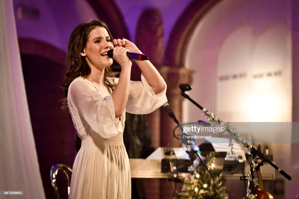 German singer and violinist Franziska Wiese performs live on stage in support of Frank Schoebel during a concert at the Gethsemanekirche on December 7, 2017 in Berlin, Germany.