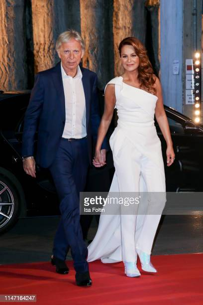 German singer Andrea Berg and her husband Ulrich Ferber during the television show 'Willkommen bei Carmen Nebel' at Velodrom on May 4, 2019 in...