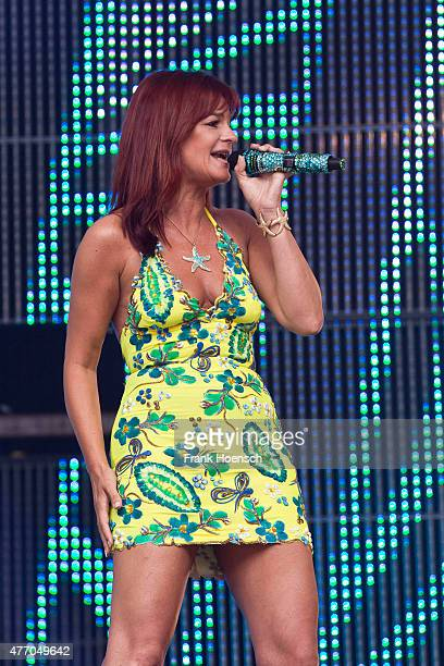 German singer Andrea Berg performs live during 'Die grosse Schlager Starparade' at the Waldbuehne on June 13 2015 in Berlin Germany
