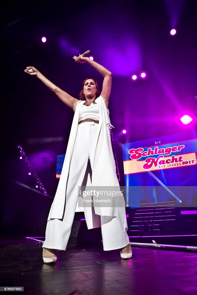 German singer Andrea Berg performs live during the show 'Die Schlagernacht des Jahres' at the Mercedes-Benz Arena on November 18, 2017 in Berlin, Germany.
