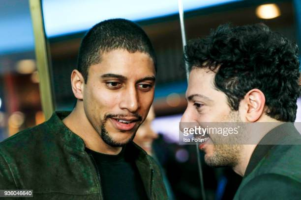 German singer Andreas Bourani and German actor Fahri Yardim during the 'jerks' premiere at Zoo Palast on March 21 2018 in Berlin Germany