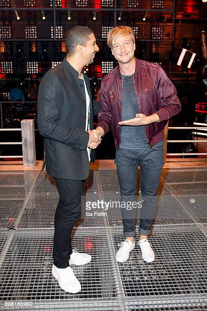German singer Andreas Bourani and Samu Haber finnisch singer and frontman of the band Sunrise Avenue attend the photocall for the six season of 'The...