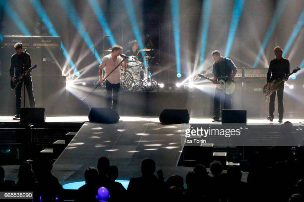 German singer Andreas Frege alias Campino performs with his band 'Die Toten Hosen' during the Echo award show on April 6 2017 in Berlin Germany