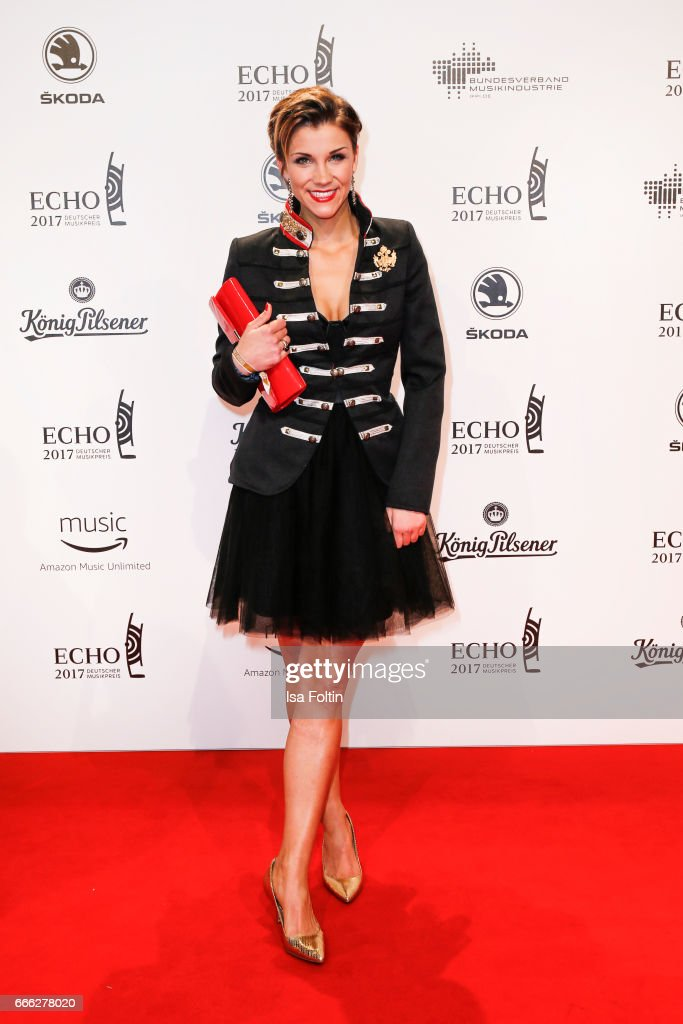 German singer Anna-Maria Zimmermann during the Echo award red carpet on April 6, 2017 in Berlin, Germany.